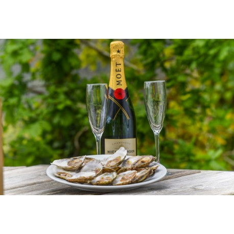 Botella champán y ostras